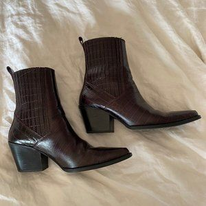 Zara Leather Croc Ankle Boots